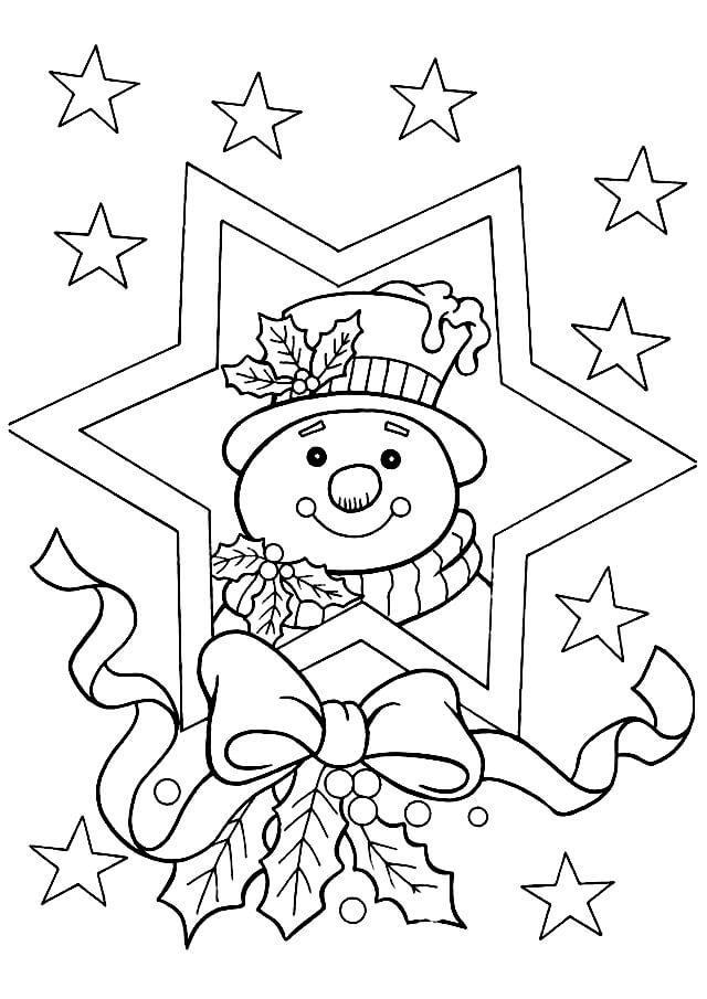 Раскраска Милый снеговик