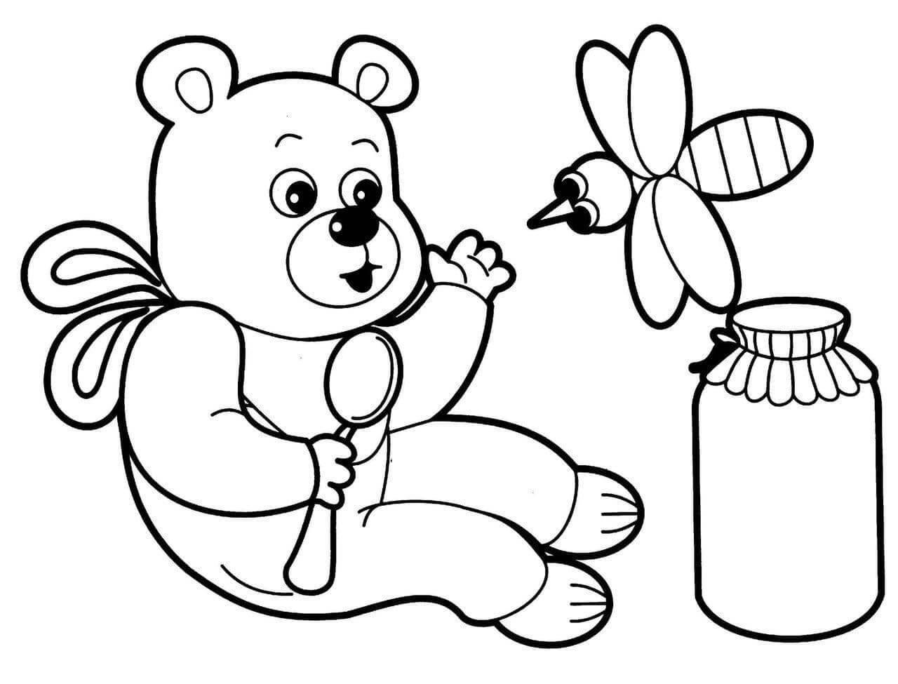 Раскраска Мишка и пчёлка