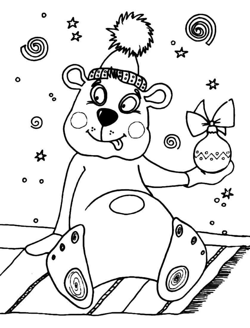 Раскраска Мишка и подарочек