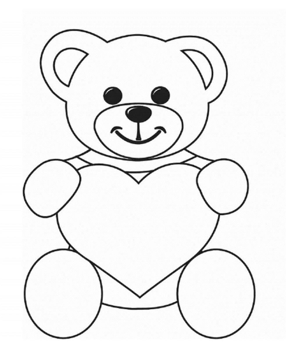 Раскраска Мишка с сердечком