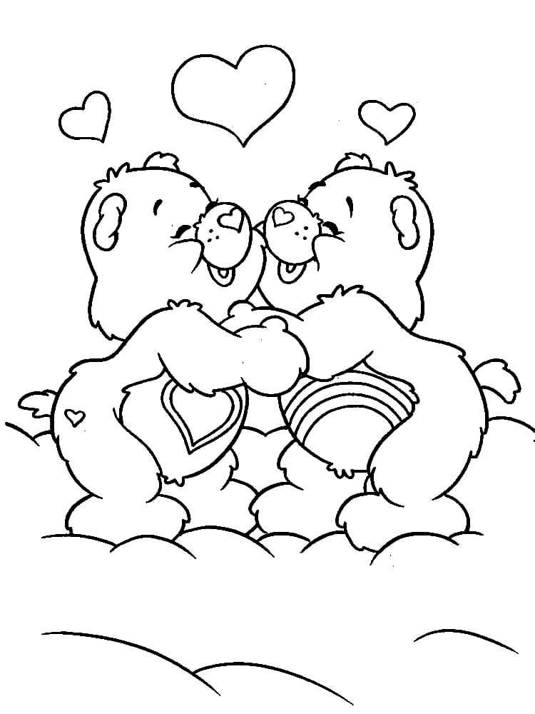 Раскраска Мишки в День влюблённых