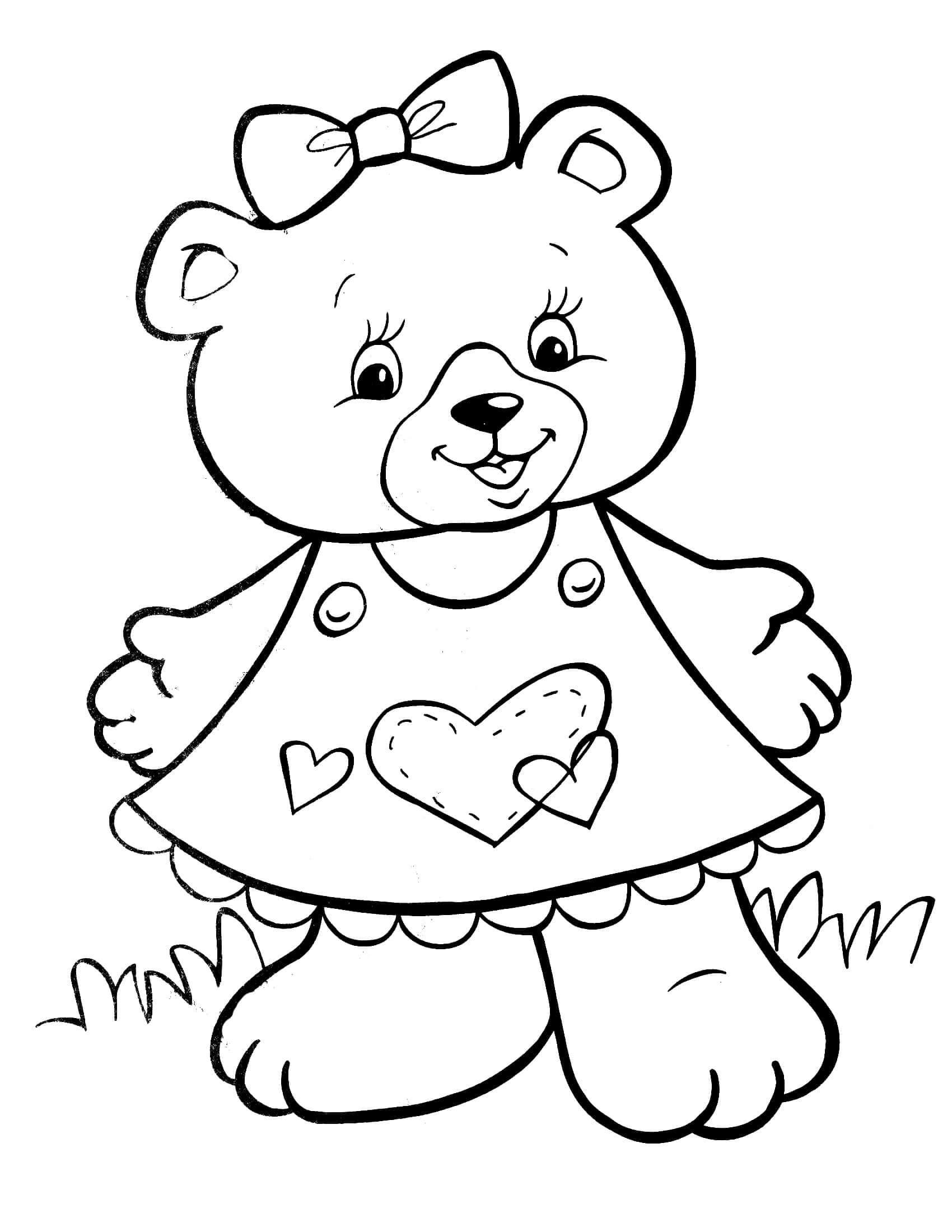 Раскраска Мишутка в платье