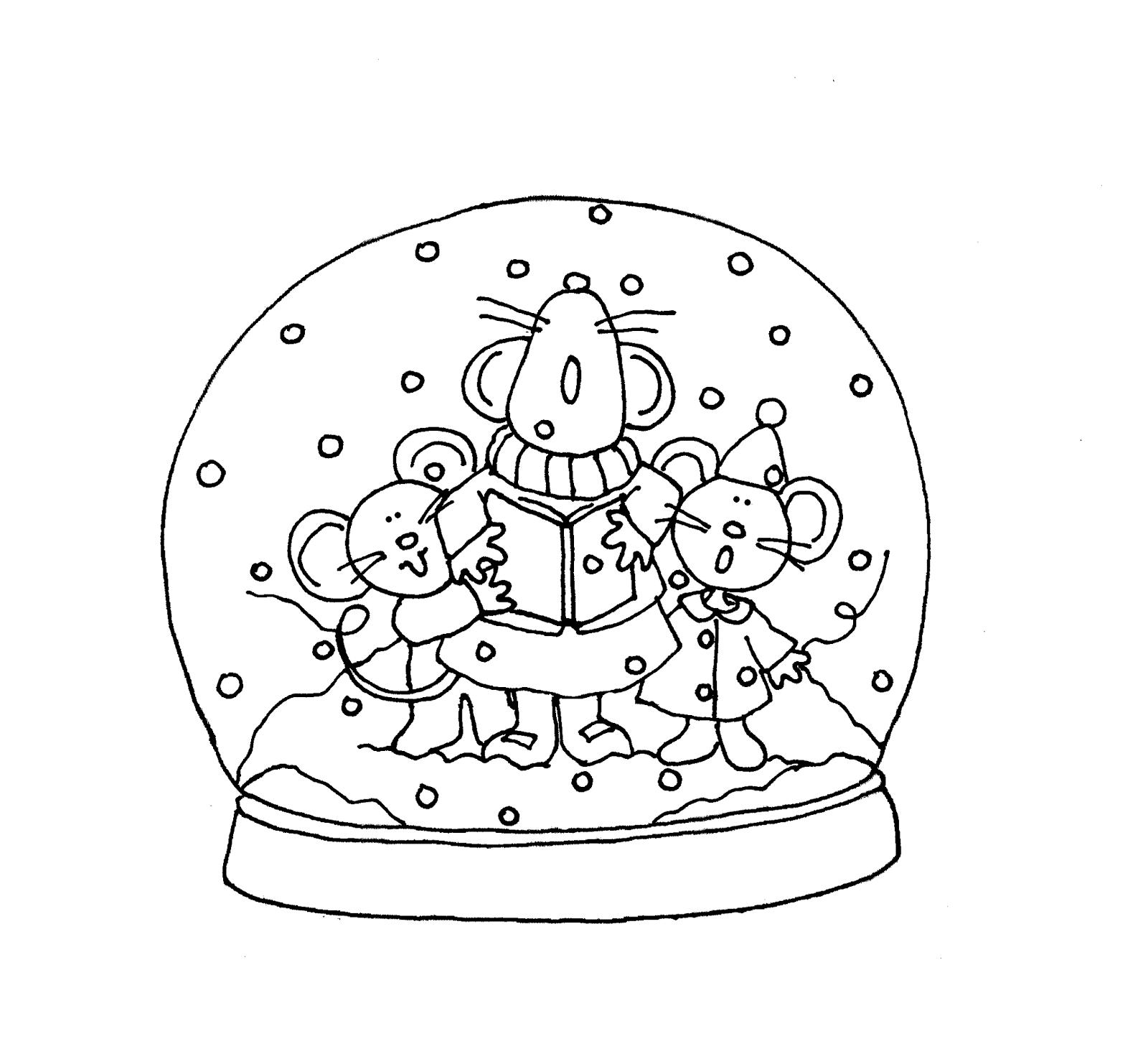 Раскраска Мышки поют праздничную песенку