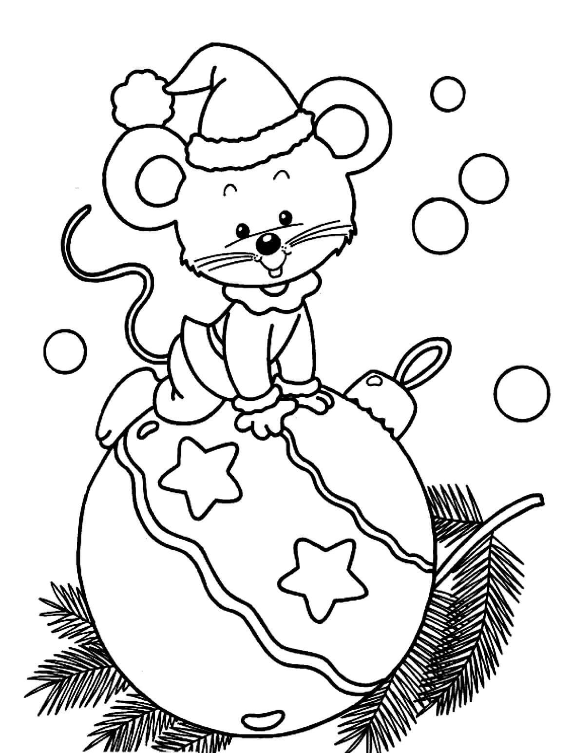Раскраска Мышонок на ёлочной игрушке