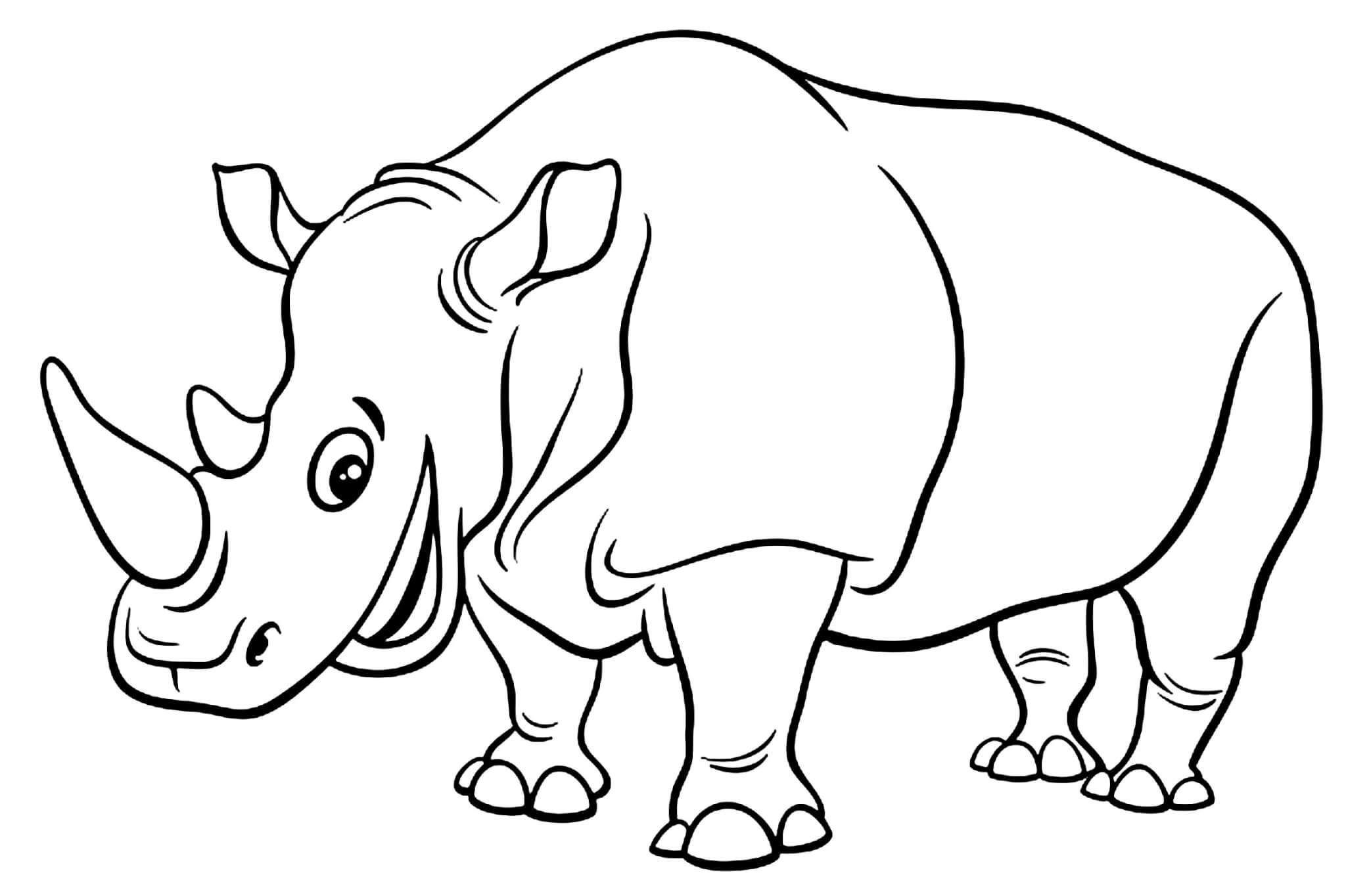 Раскраска Носорог улыбается
