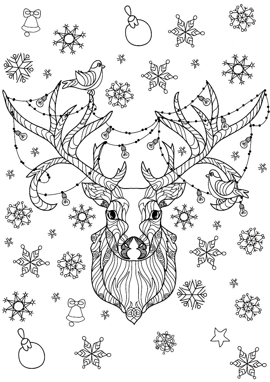 Раскраска Новогодний олень