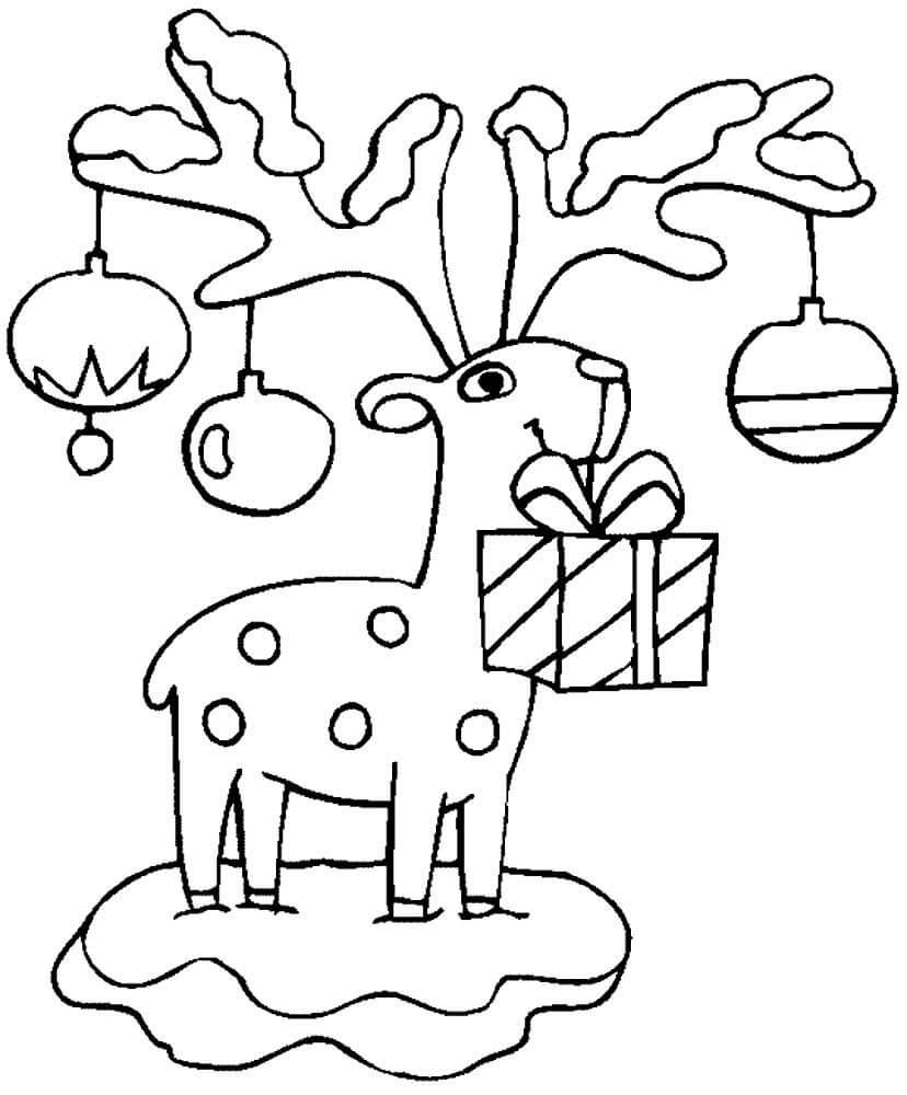 Раскраска Олень с подарком