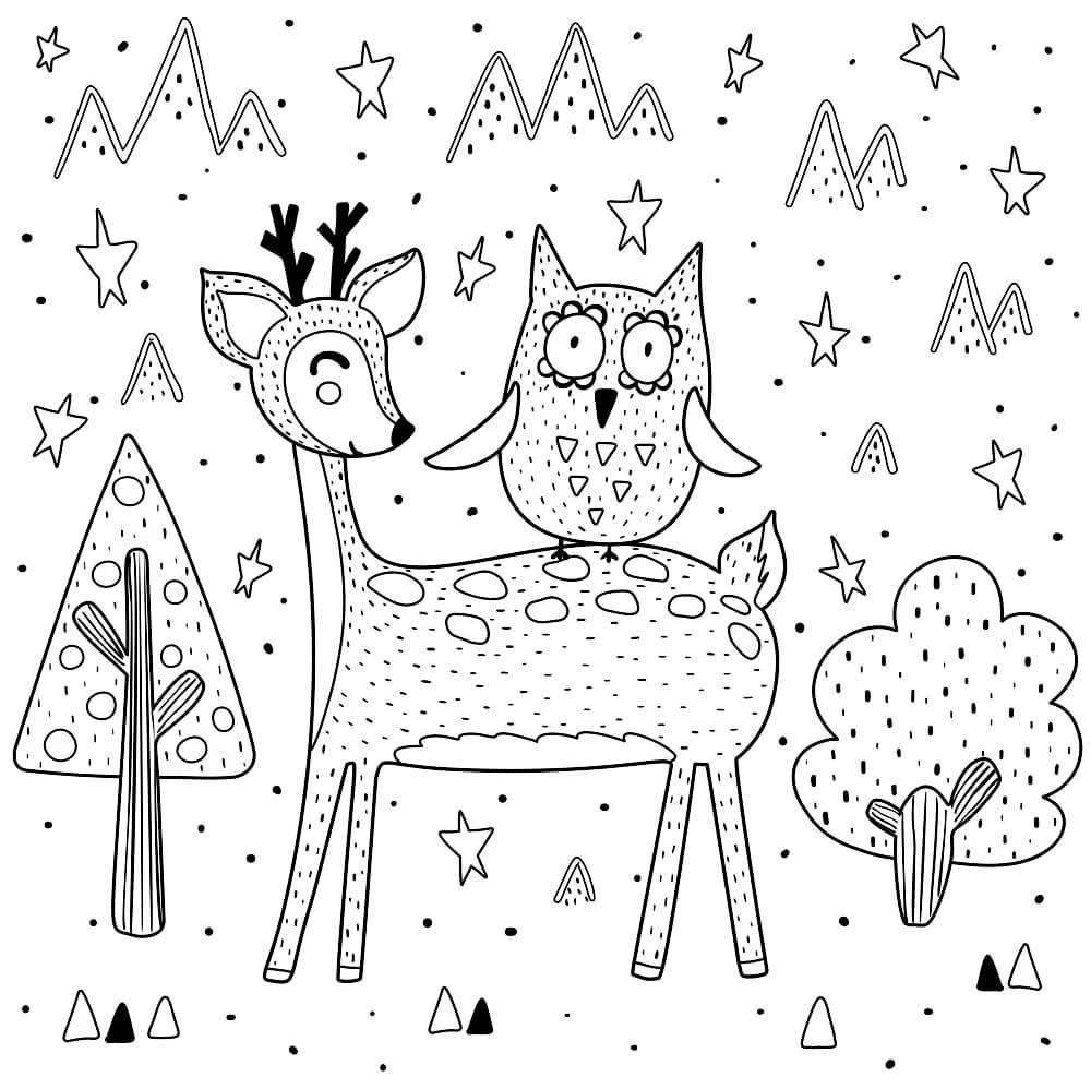 Раскраска Оленёнок и совёнок