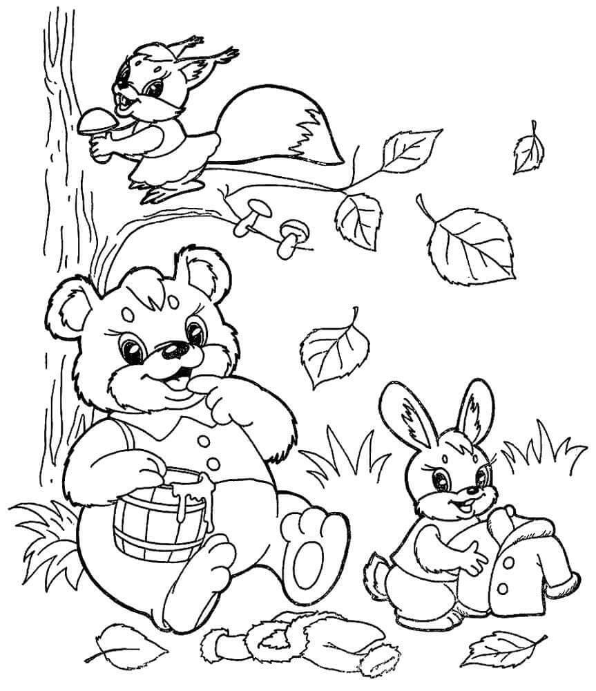 Раскраска Осенние жители
