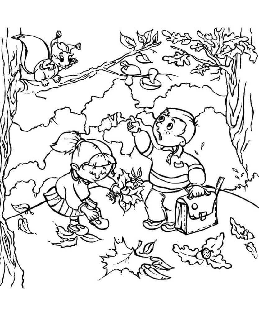 Раскраска Осенняя прогулка