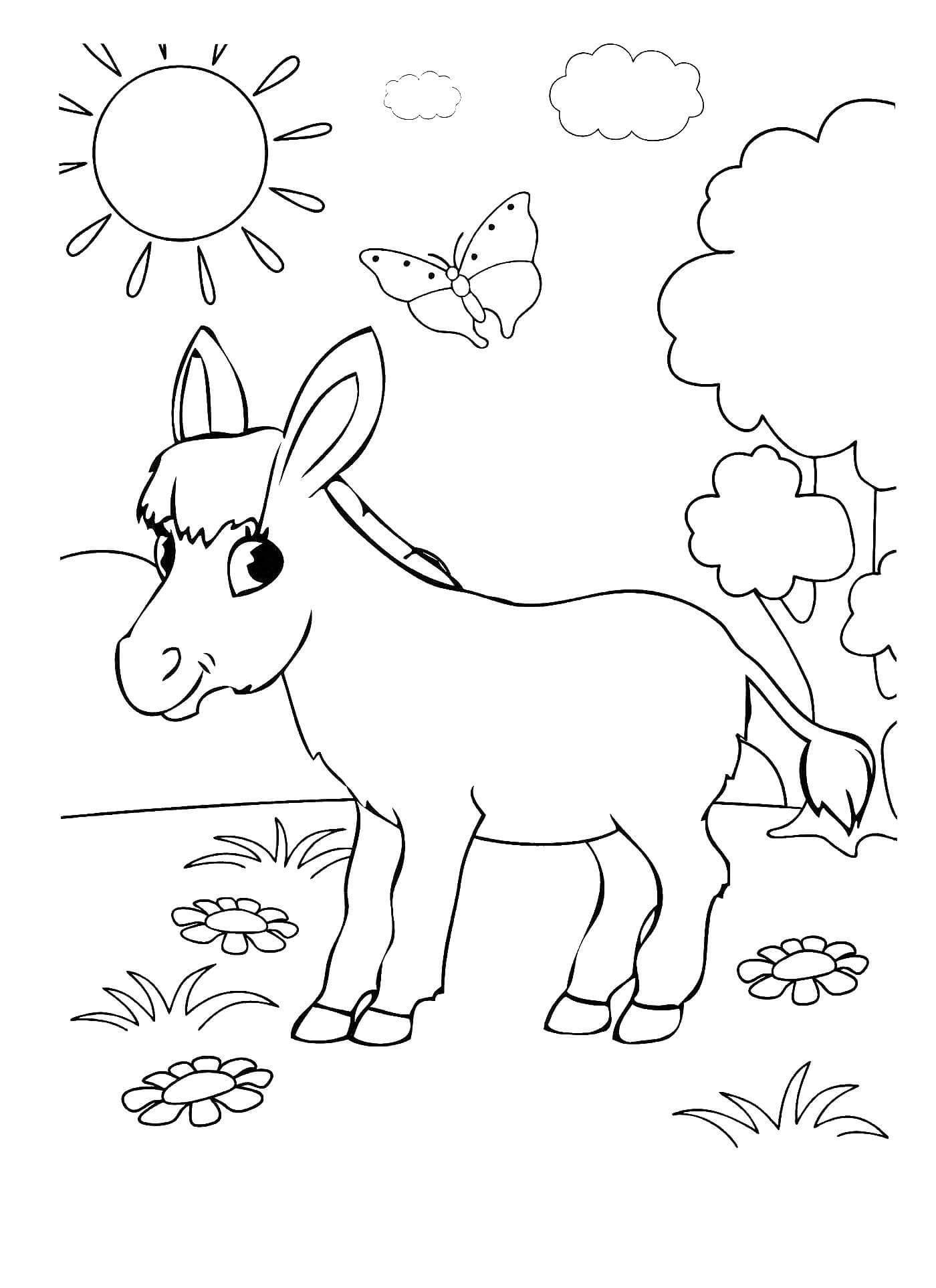 Раскраска Ослик на лужайке
