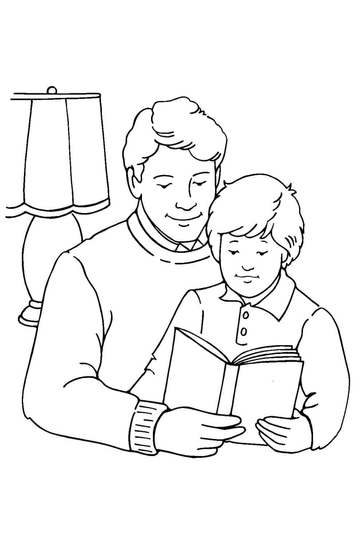 Раскраска Отец и сын на День защитника Отечества