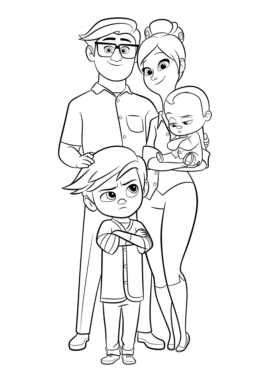 Раскраска Папа, Мама, Тим и Малыш