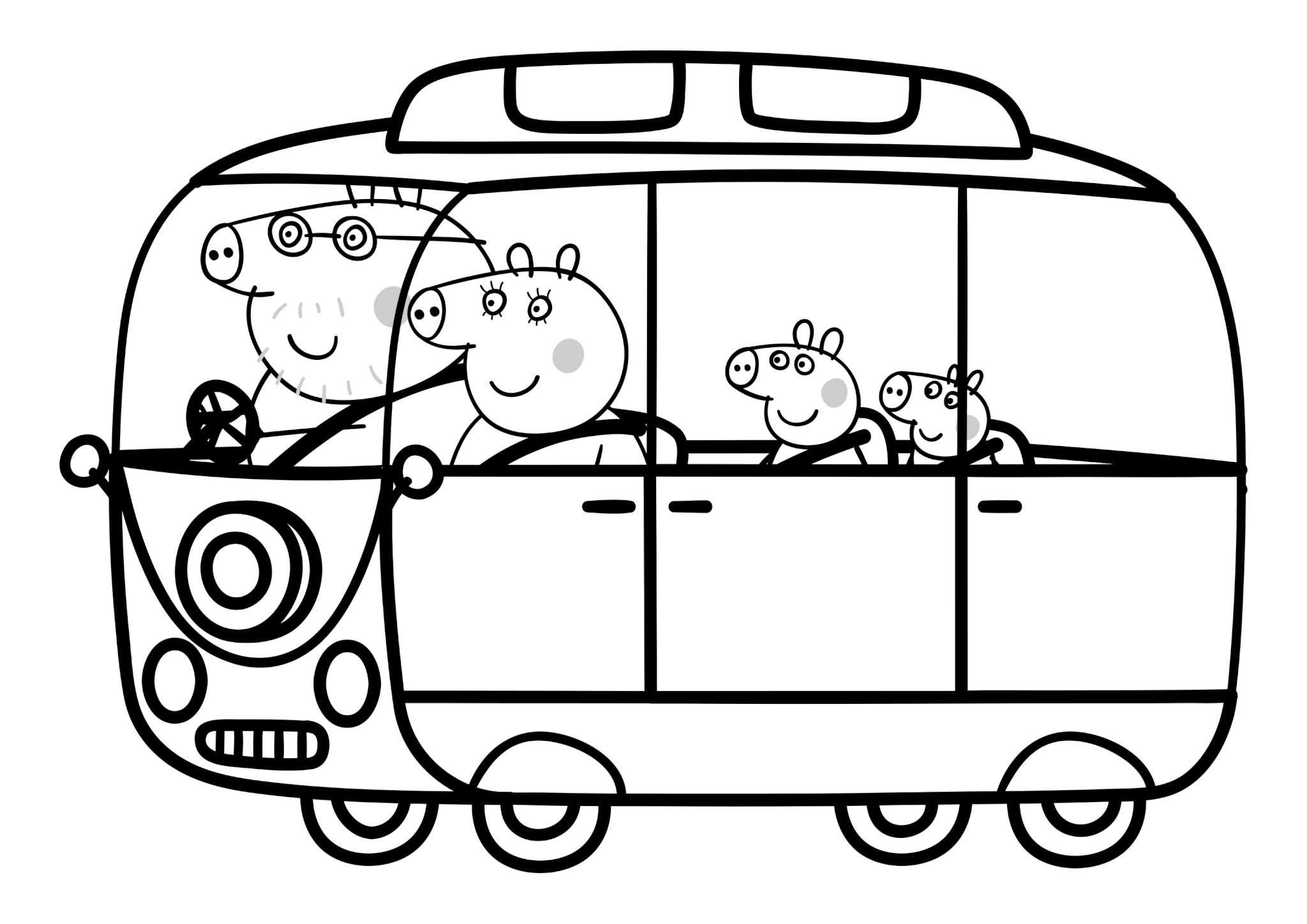 Раскраска Папа Свин, Мама Свинка, Пеппа и Джордж в микроавтобусе