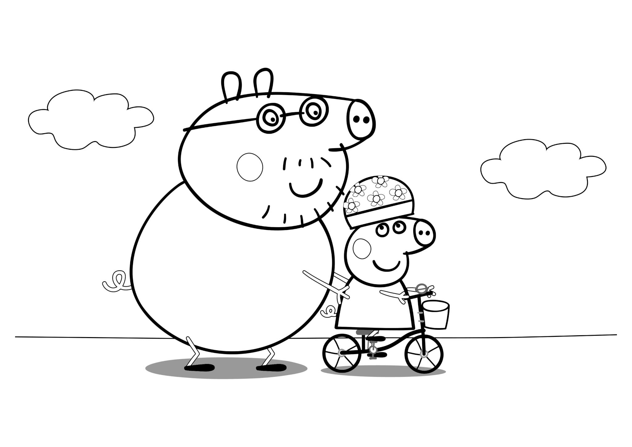 Раскраска Папа Свин учит Пеппу кататься на велосипеде
