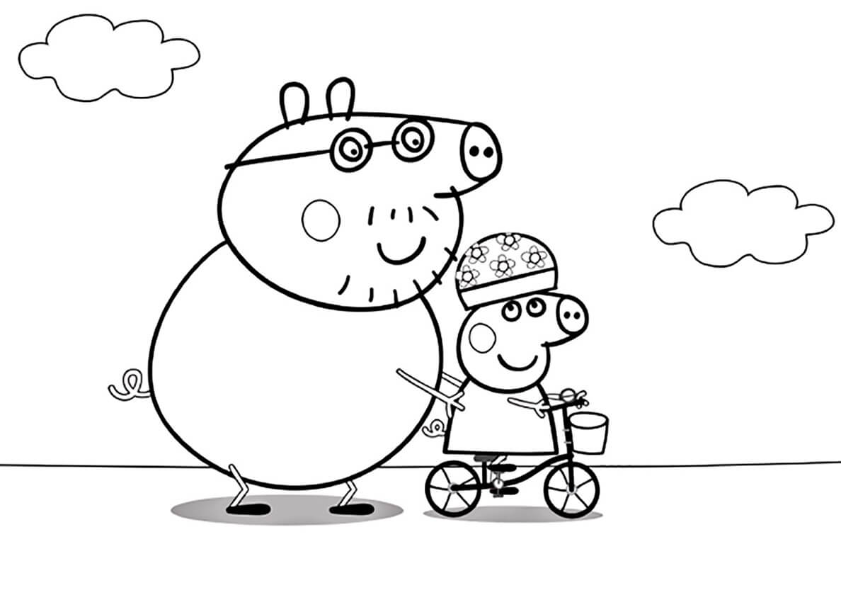 Раскраска Папа учит Пеппу кататься на велосипеде