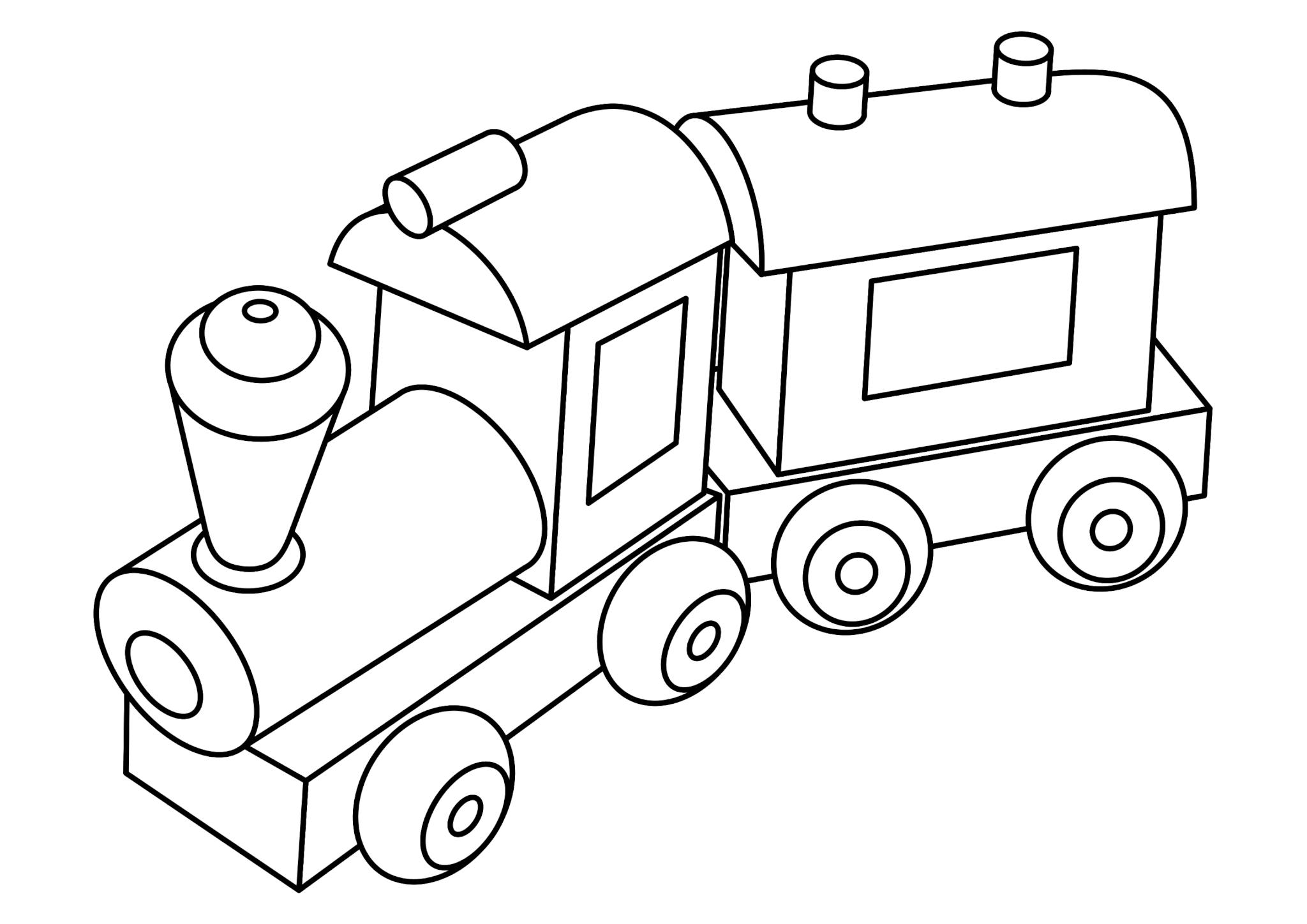 Раскраска «Паровозик с вагоном»