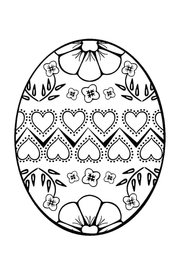 Раскраска Пасхальное яйцо с сердечками