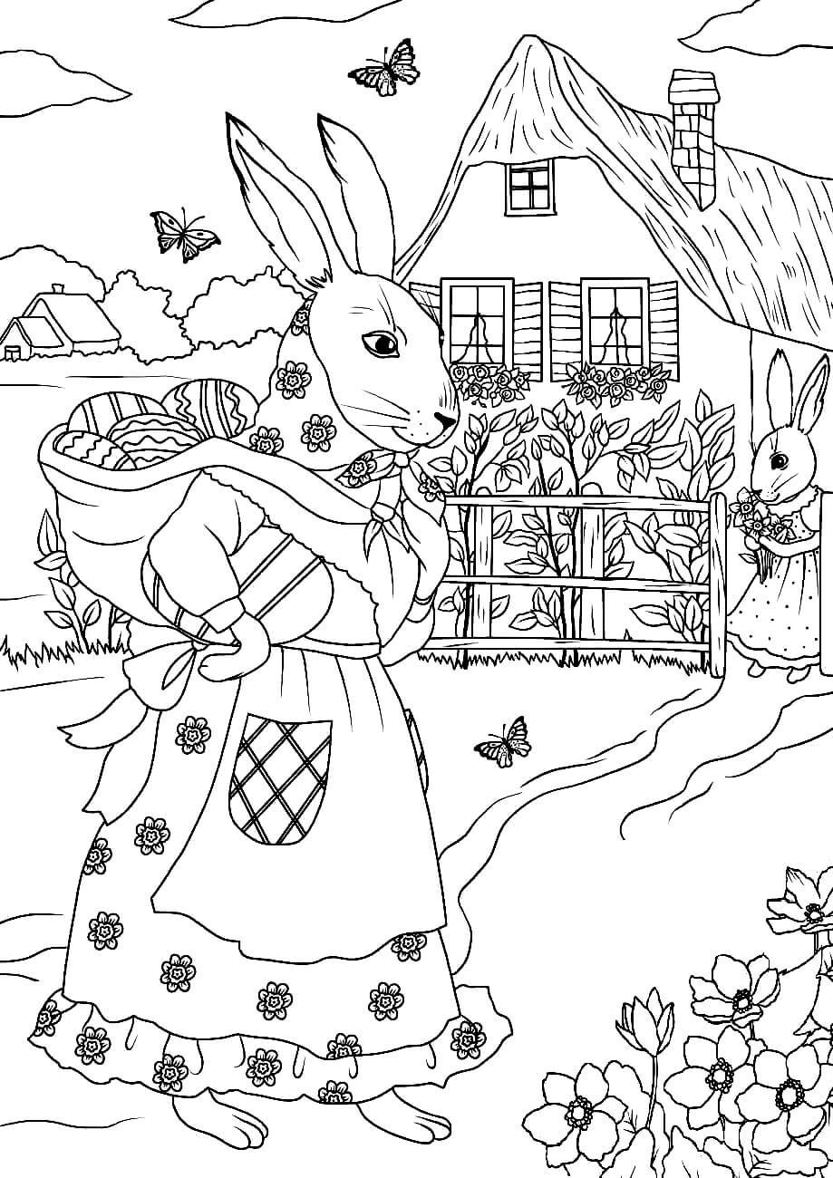 Раскраска Пасхальные кролики с корзинкой
