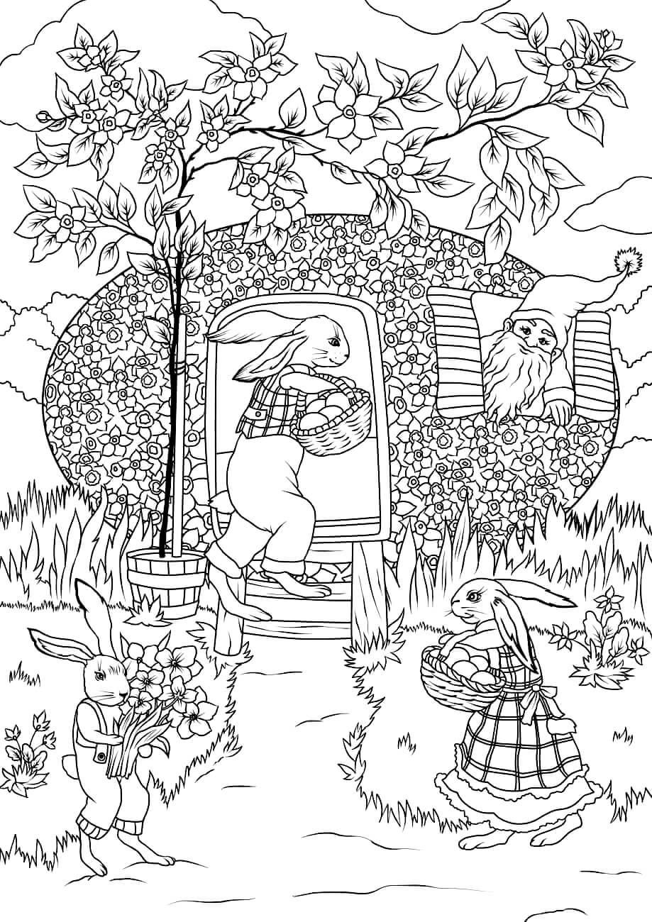 Раскраска Пасхальные кролики