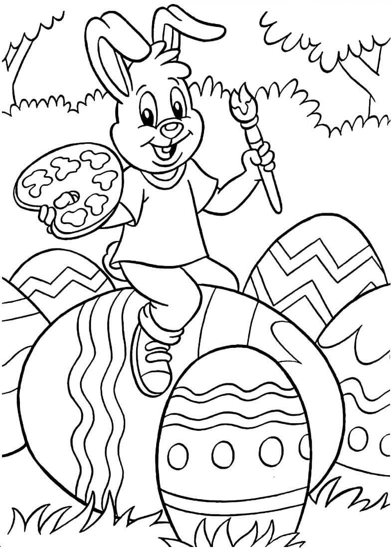 Раскраска Пасхальный кролик с кистью