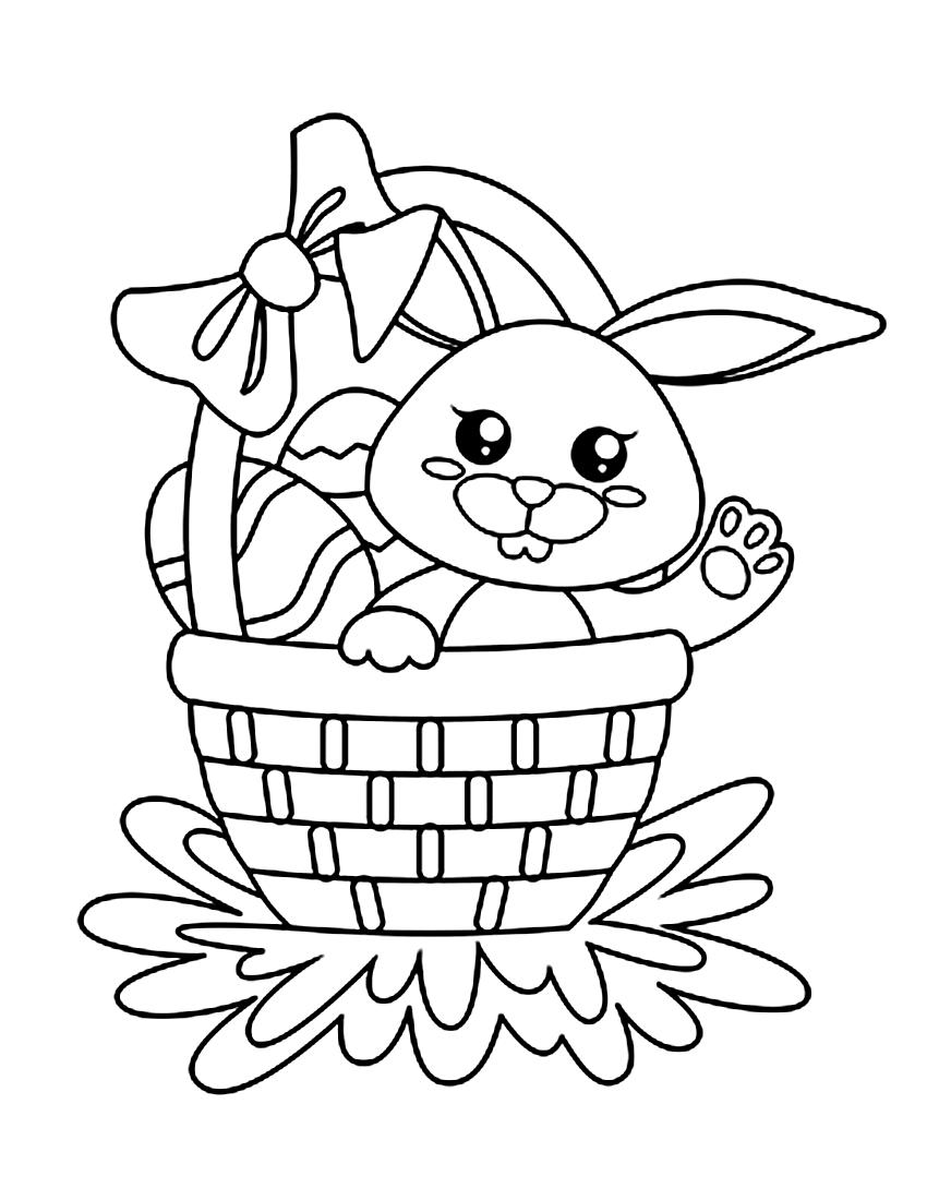 Раскраска Пасхальный кролик в корзинке