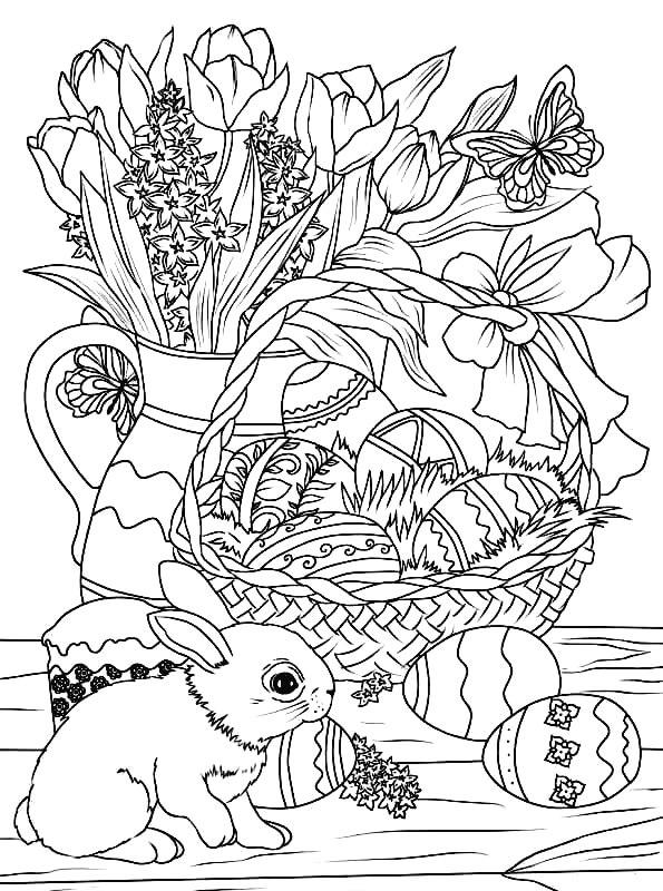 Раскраска Пасхальный стол