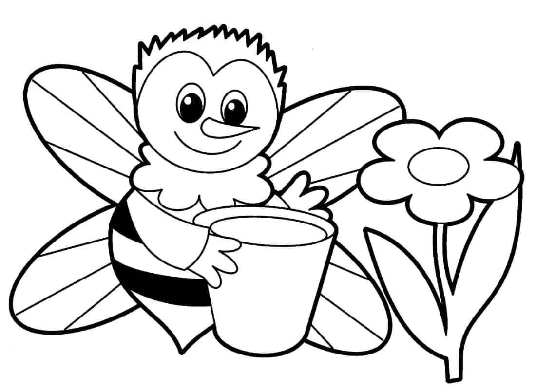 Раскраска Пчела поливает цветы