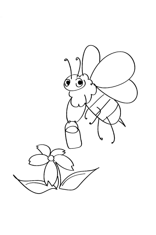 Раскраска Пчёлка и цветочек