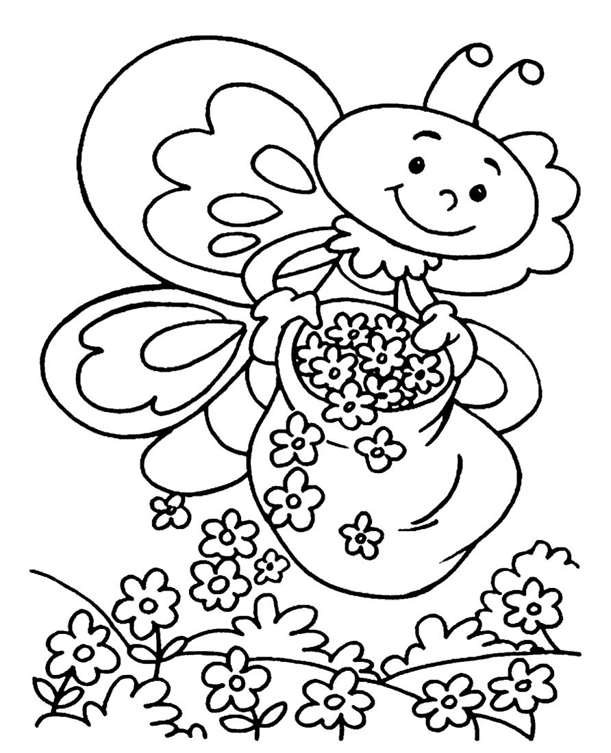 Раскраска Пчёлка и цветочки