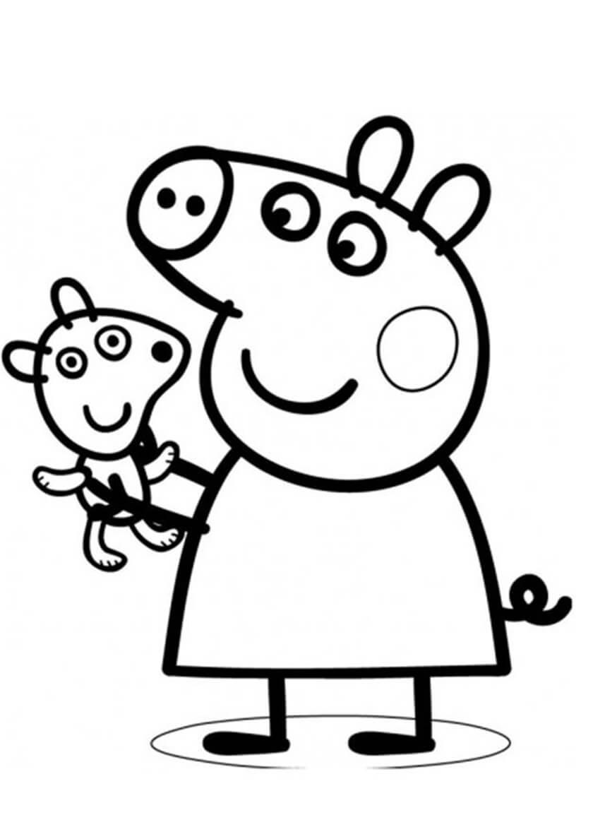 Раскраска Пеппа и её мишка Тедди