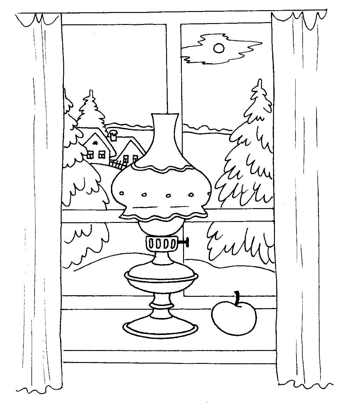 Раскраска Пейзаж за окном