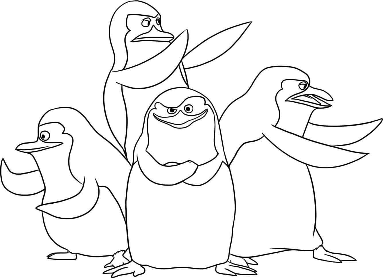 Раскраска Пингвины из Мадагаскара