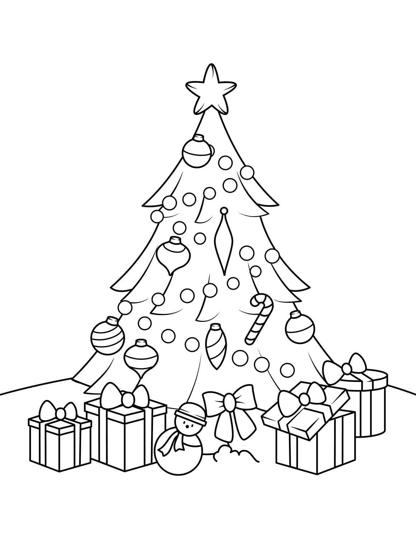Раскраска Подарочки под ёлочкой