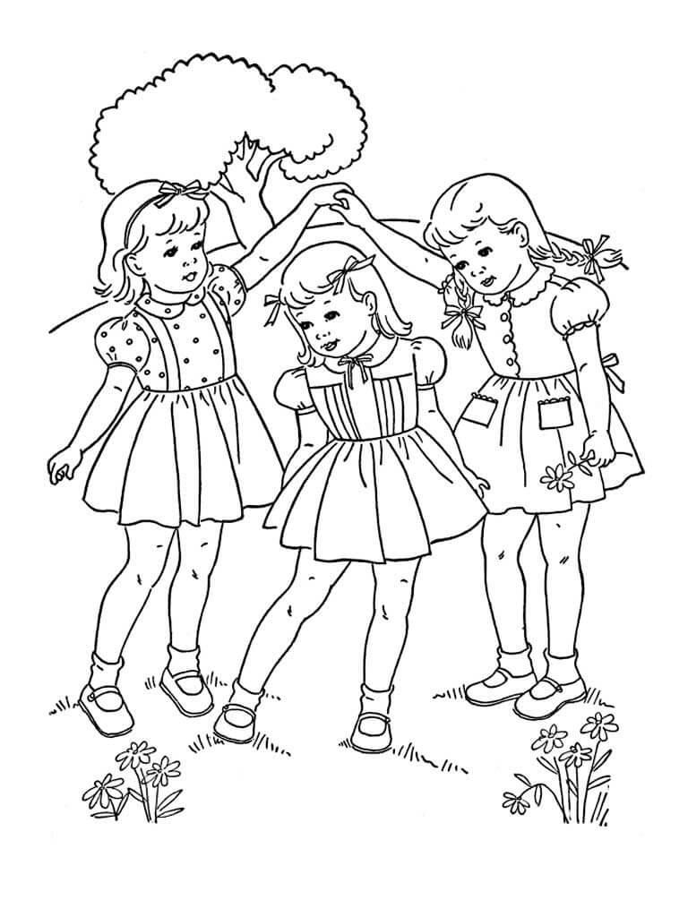 Раскраска Подруги и цветочки весной