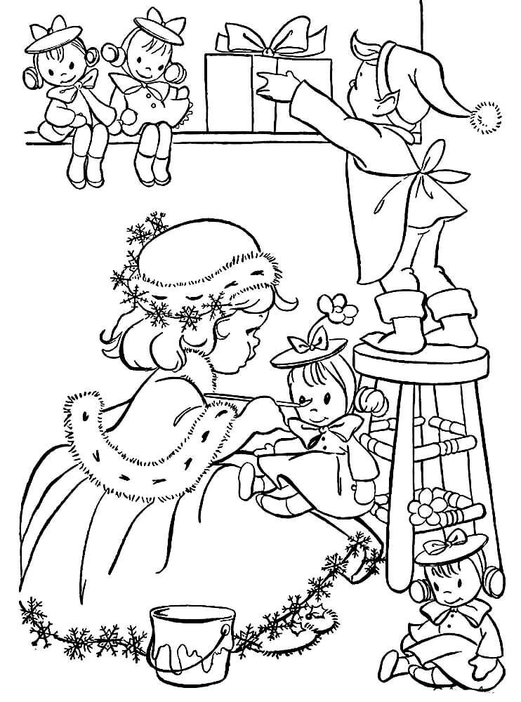 Раскраска Помощники Санта Клауса