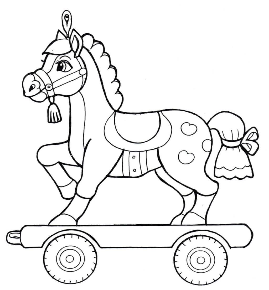 Раскраска «Пони на колесах»
