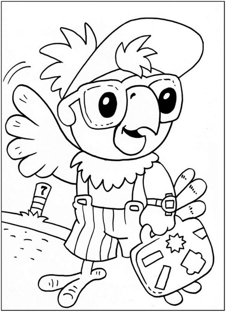 Раскраска Попугай Кеша с чемоданом