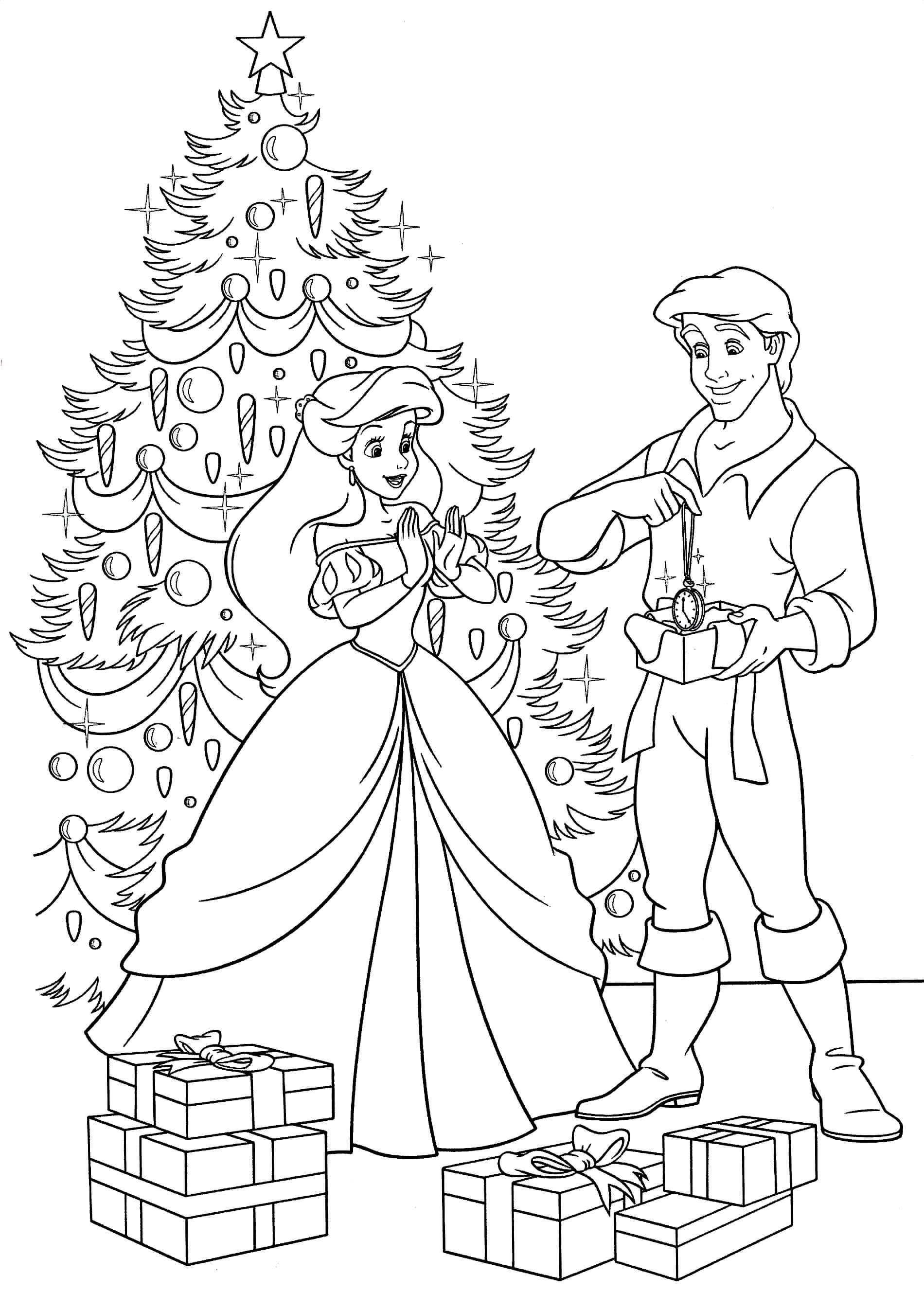 Раскраска Принц вручает подарок Белоснежке