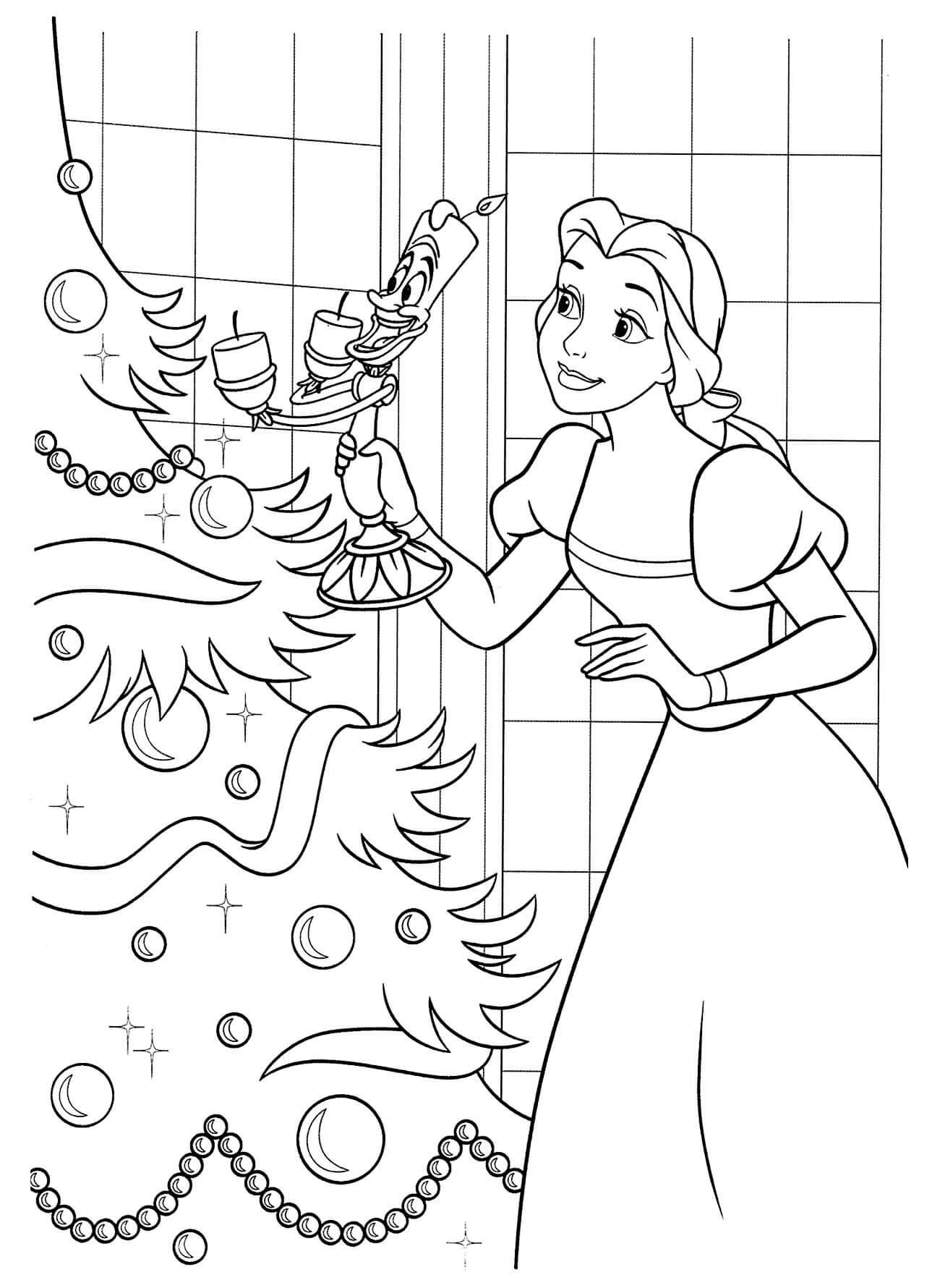 Раскраска Принцесса Белль и Люмьер