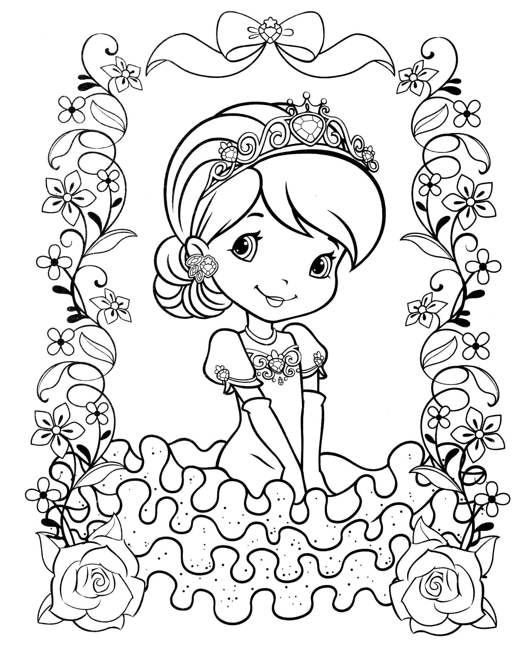 Раскраска Принцесса в цветочках
