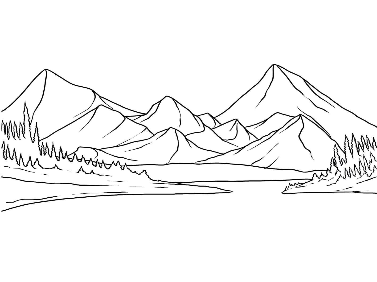 Раскраска Природа в горах