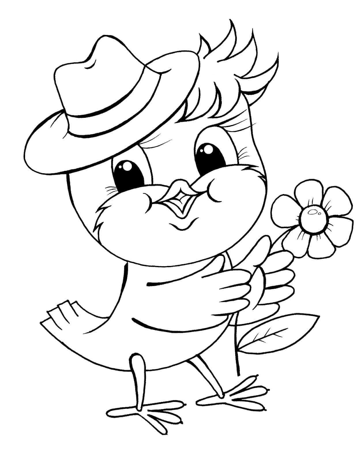 Раскраска Птенчик в шляпке
