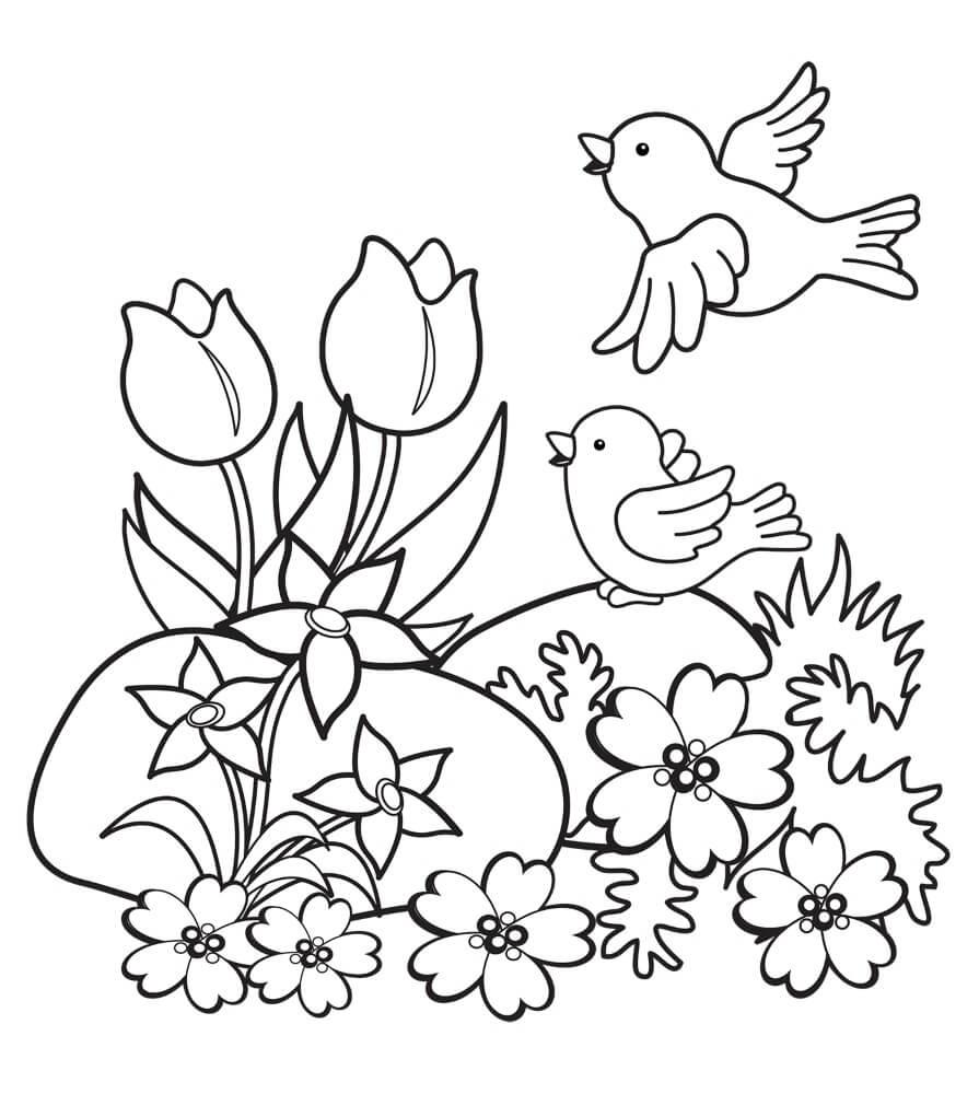 Раскраска Птички и цветочки