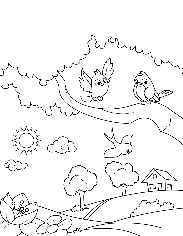 Раскраска Птички на дереве