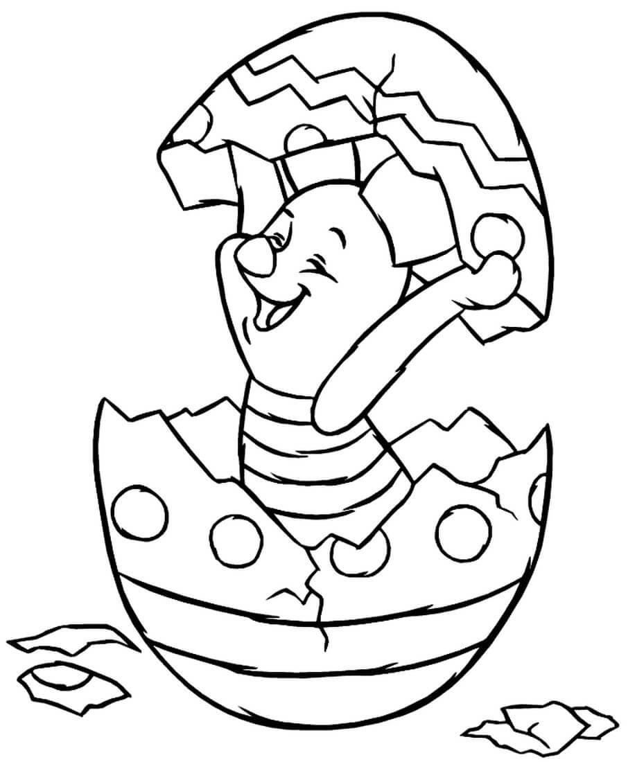 Раскраска Пятачок в пасхальном яйце