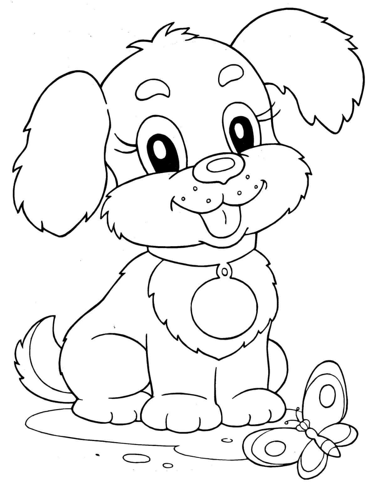 Раскраска Радостный щенок