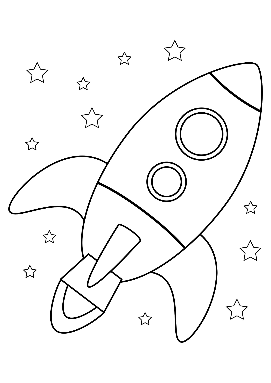 Раскраска Ракета среди звёзд