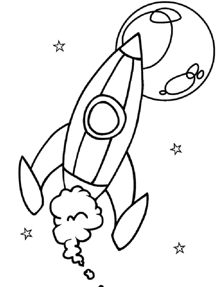 Раскраска Ракета в полёте