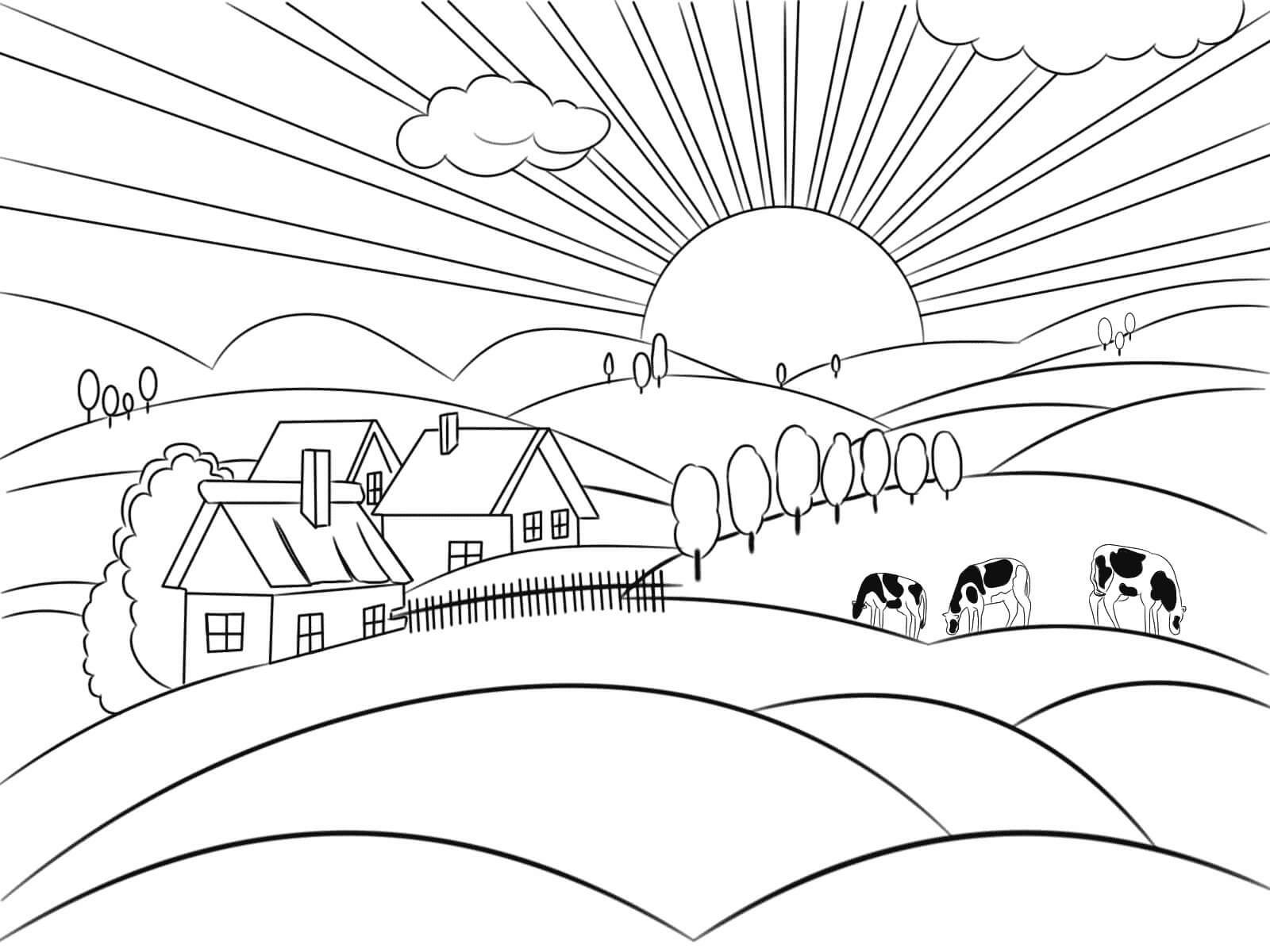 Раскраска Рассвет в деревне